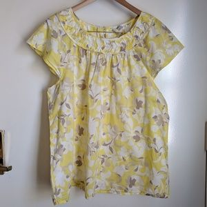Old Navy Yellow Tan Floral Cotton Blouse